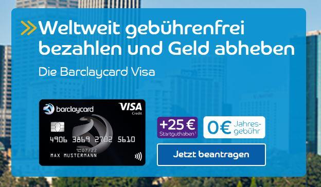 barclaycard visa mit 25 bonus die neue beitragsfreie kreditkarte inkl geb hrenfreiem. Black Bedroom Furniture Sets. Home Design Ideas