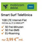 50 Min. + 50 SMS + 1GB LTE im o2-Netz für 3,99€/Monat + 40€ oder 100€ Amazon-Gutschein (effektiv bis zu 2,28€/Monat möglich!)