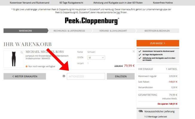 """72ad99132aaf04 Fügt den Peek   Cloppenburg Aktionscode in das vorgesehene Feld ein und  betätigt den Button """"Einlösen"""" ..."""