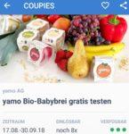 (Süddeutschland) Coupies - Yamo Bio-Babybrei 8x gratis testen