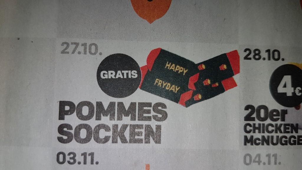 Gratis Pommes Socken Bei Mcdonald S 27 10 18 Schnappchen Blog