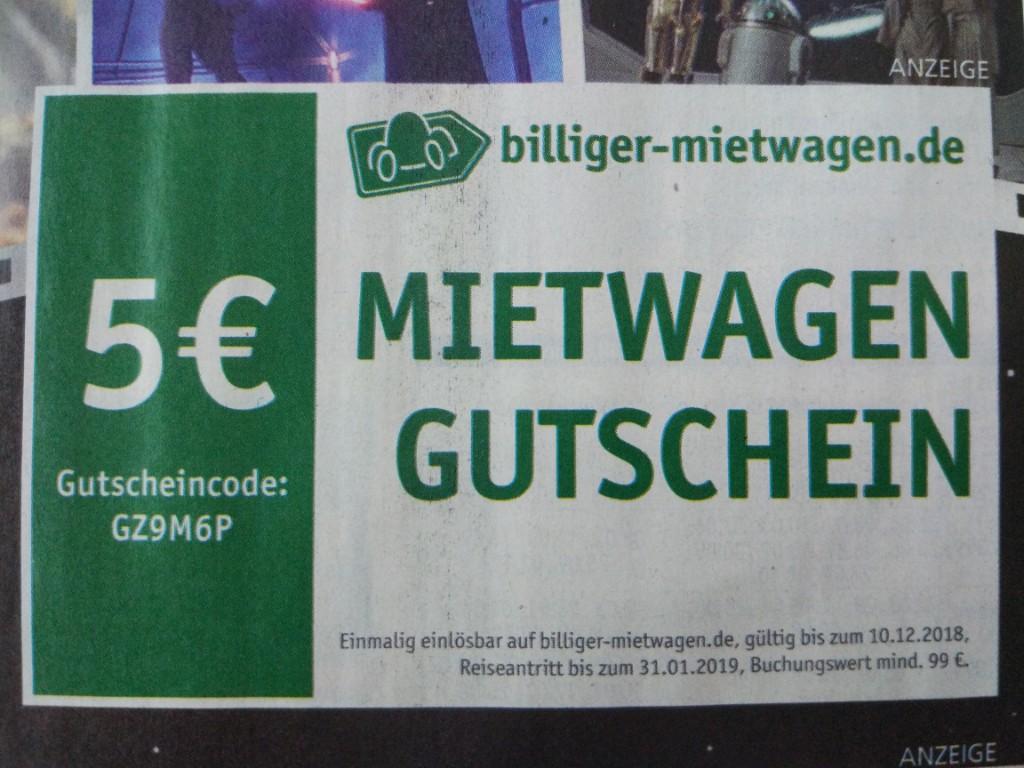 5 Euro Mietwagen Gutschein