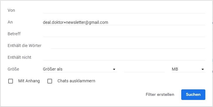 Gmail Filter erstellen