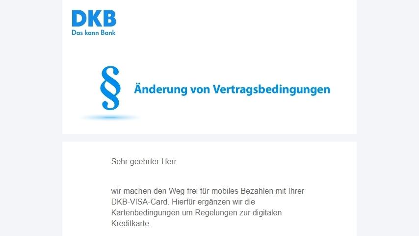 DKB Google Pay Vertragsbedingungen Aenderung