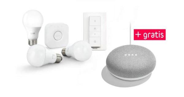 philips hue white starter kit e27 mit 3 lampen bridge und dimmschalter google home mini f r. Black Bedroom Furniture Sets. Home Design Ideas