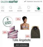 Sonntagsangebote bei Galeria Kaufhof: zB 20% Rabatt auf Heimtextilien, Uhren und Schmuck, ausgewählte Damentaschen, Herrenmäntel und -stiefel, 15% auf Playmobil uvm.