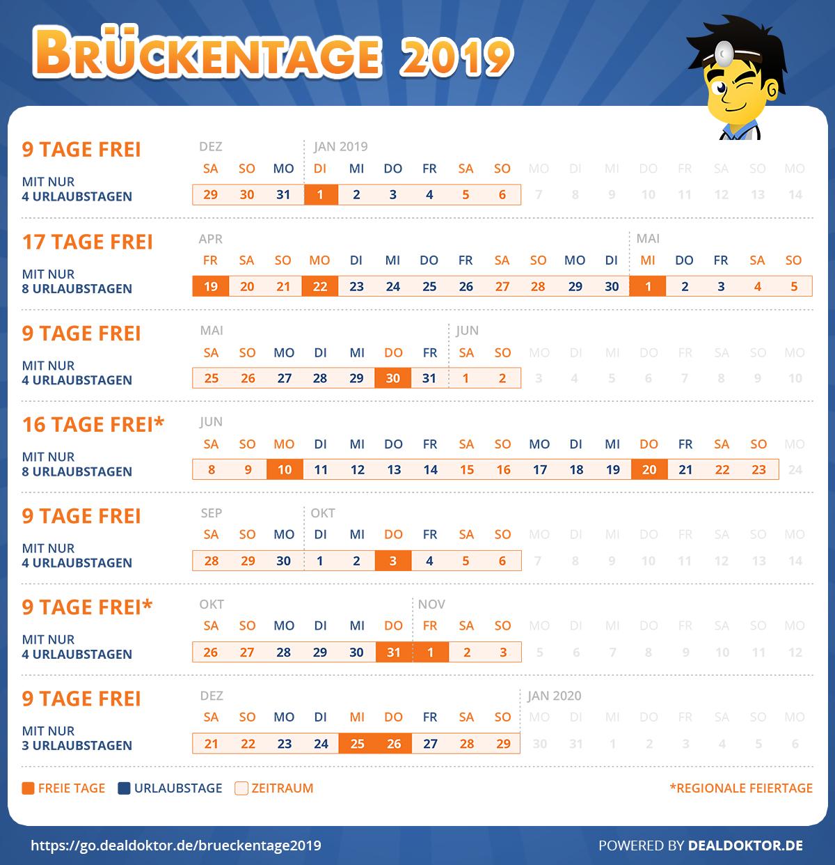 Brueckentage 2019 DealDoktor
