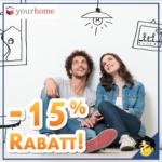 Günstige Möbel: 15% Rabatt & gratis Lieferung (ab 50€ MBW) auf ALLES bei yourhome (Sessel, Couchen, u.v.m.)