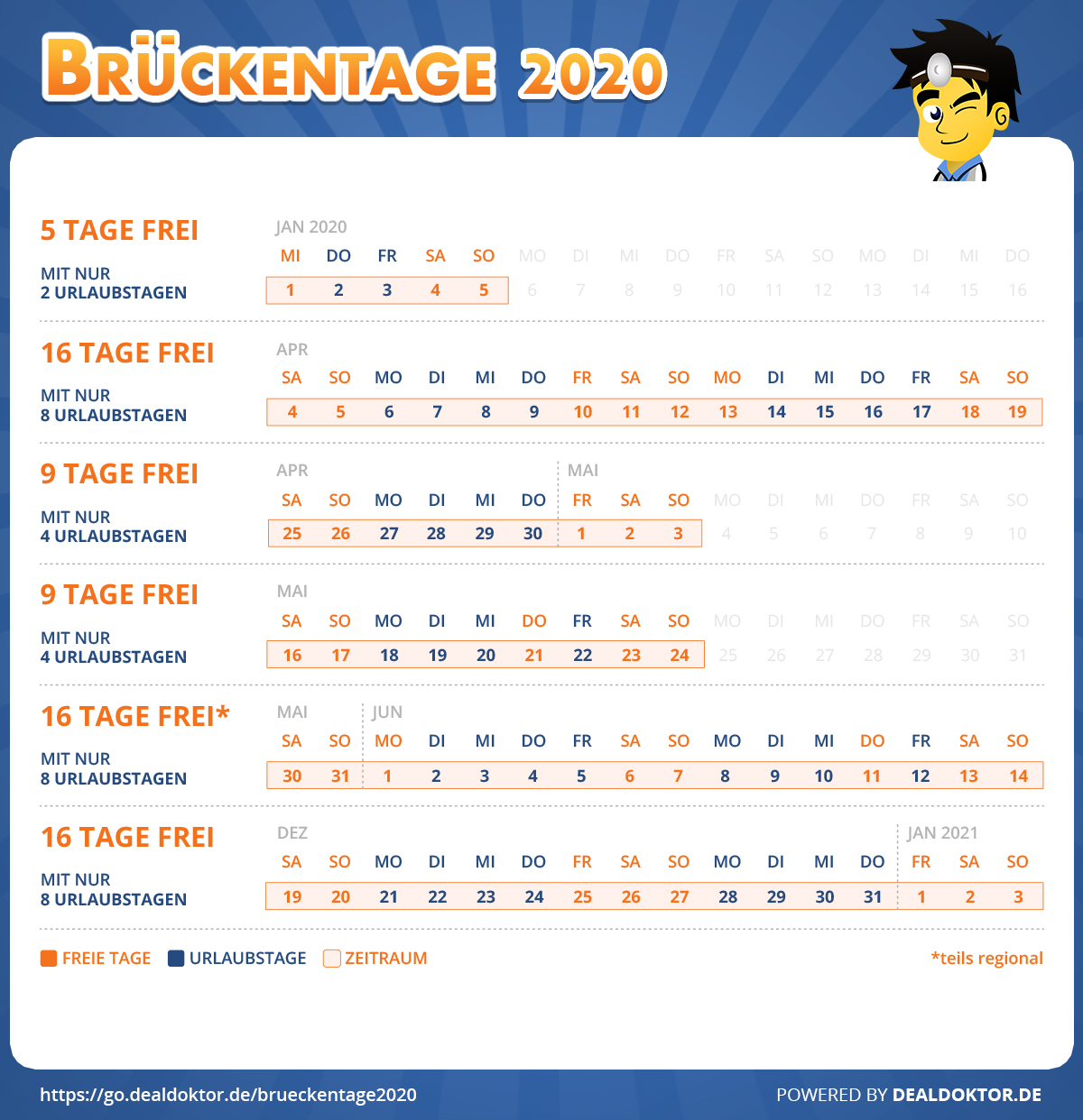 DealDoktor_Brueckentage_2020_Urlaub