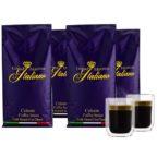 Grand Maestro Italiano Celeste Kaffeebohnen (4 kg) + 2 doppelwandige Kaffeegläser (130 ML)