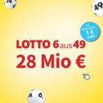 6 Felder Lotto 6aus49 für 1€ (statt 6,40€) - 28 Mio € im Jackpot (Lottohelden-Neukunden)