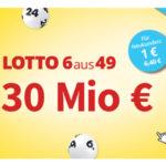 6 Felder Lotto 6aus49 für 1€ (statt 6,40€) - 30 Mio € im Jackpot (Lottohelden-Neukunden)