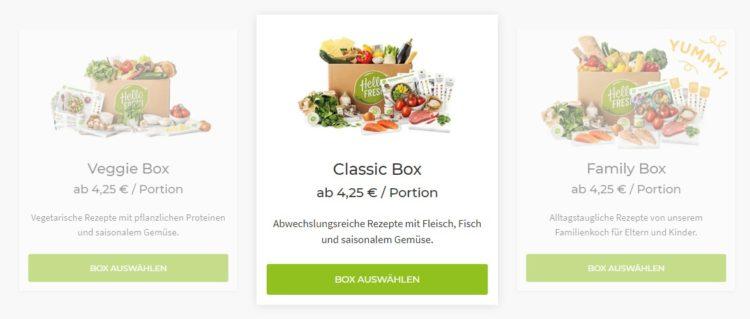 Unsere Kochboxen - HelloFresh Auswahl