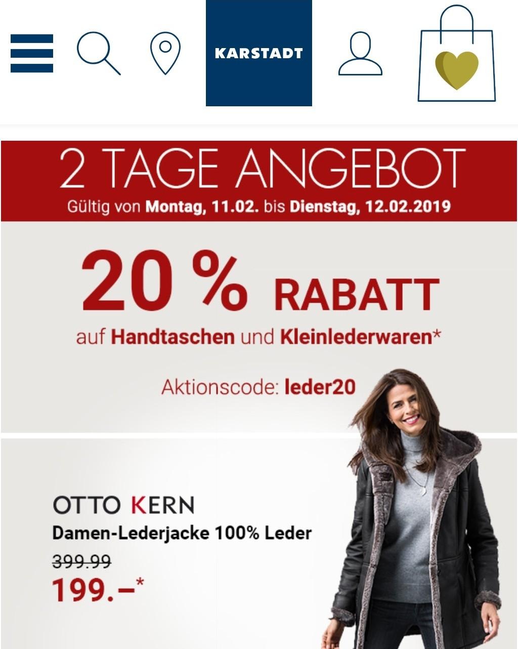 a45a82b2bf2a6 20% Rabatt auf Handtaschen und Kleinlederwaren bei Karstadt