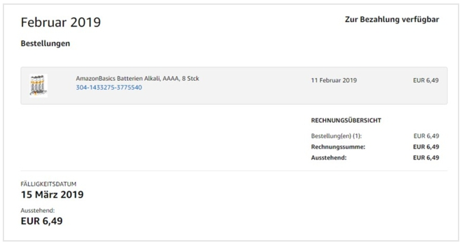Amazon Monatsabrechnung Screenshot
