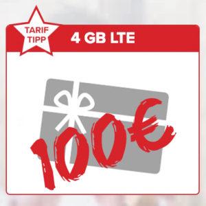 Tarifhaus 4GB LTE 100€ Gutschein Titelbild