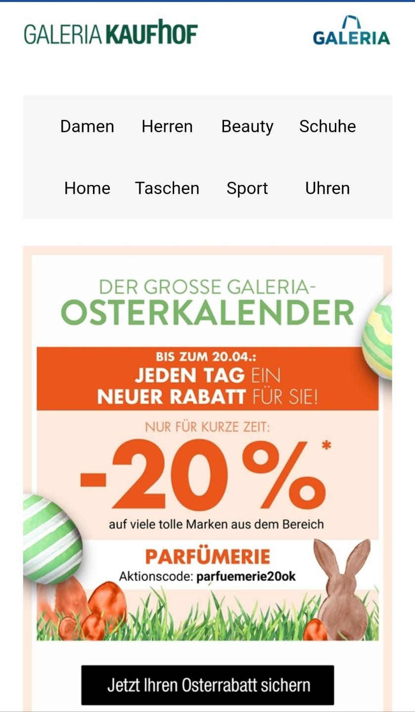 Galeria Kaufhof Osterkalender 20 Rabatt Auf Parfümeriebeauty
