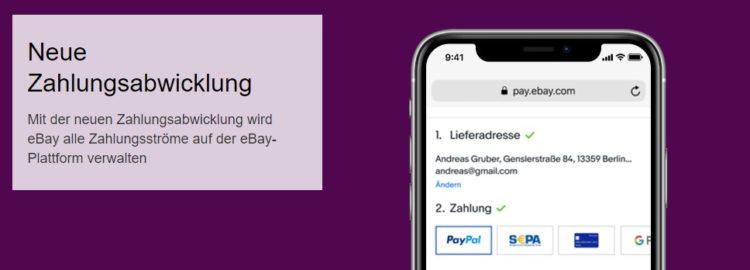 Neue Zahlungsabwicklung ebay