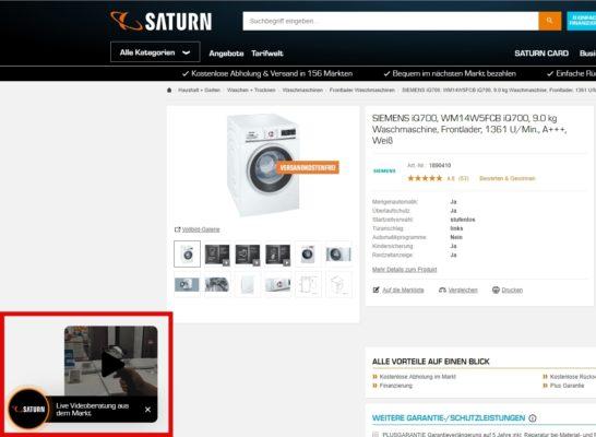Saturn Videoberatung Onlineshop Waschmaschine