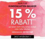Karstadt: 15% Rabatt auf einen Artikel  für Kundenkarten-Inhaber