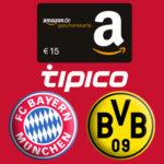 *Letzter Buli-Spieltag* Tipico: Jetzt 15€ Amazon.de-Gutschein bei nur 10€ Einsatz + 15€ Freiwette + 100% Wettbonus
