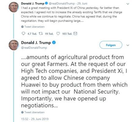 Donald J. Trump auf Twitter Huawei Bann beendet