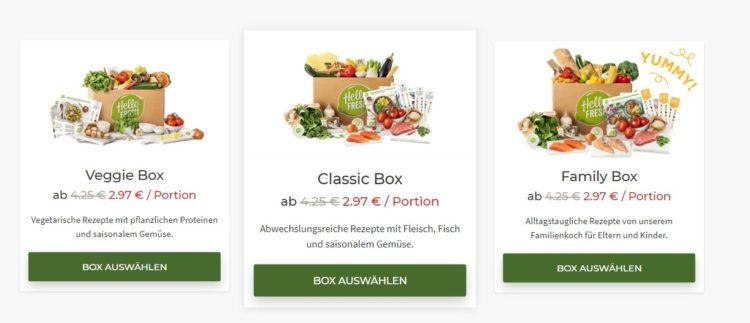 Die Kochboxen bei HelloFresh: Veggie, Classic und Family