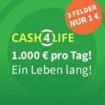Lottohelden: 3 Felder Cash4Life für 1€ (statt 6€) - 1.000€ täglich (Neu- und Bestandskunden)