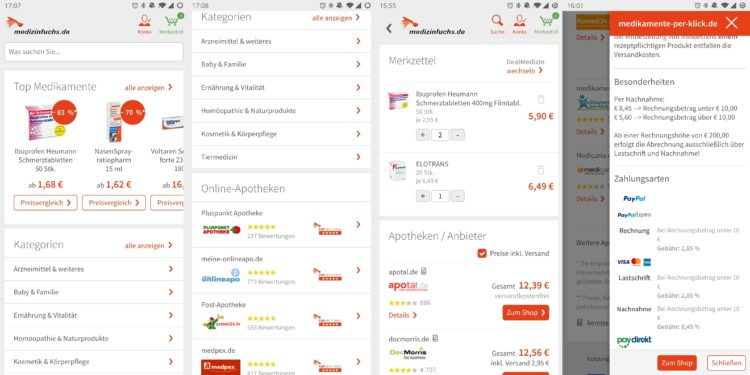 medizinfuchs App Startseite Kategorien Apotheken Merkzettel