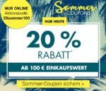 Nur heute bei Karstadt: 20% Rabatt ab 100€ Einkauf + versandkostenfrei ab 20€