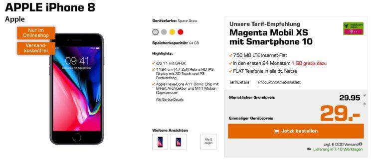 APPLE iPhone 8 Magenta Mobil XS mit Smartphone 10
