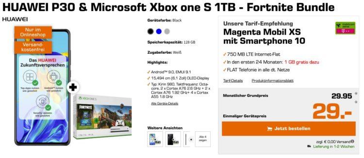 HUAWEI P30 & Microsoft Xbox one S 1TB - Fortnite Bundle Magenta Mobil XS mit Smartphone 10