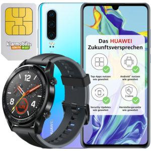 Klarmobil AllNet Flat 2 GB Aktion Huawei Watch GT Sport black Huawei P30 128GB LTE Black Titelbild