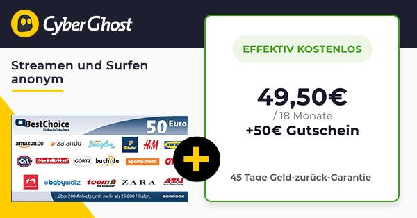 🔐 Cyberghost GRATIS: 18 Monate für 49€ + 50€ Prämie