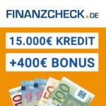 Finanzcheck Urlaubsgeld: 400€ Prämie für Kredit ab 15.000€ (Gewinn möglich!)