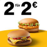 McDonalds App: 2x Cheeseburger oder Chickenburger für 2€