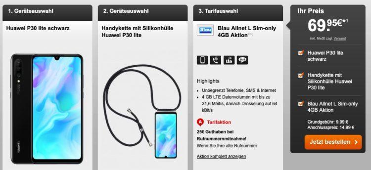 Blau Sim Karte Freischalten.Huawei P30 Lite Für 69 95 Allnet Flat 4gb Lte Für 9 99 Monat
