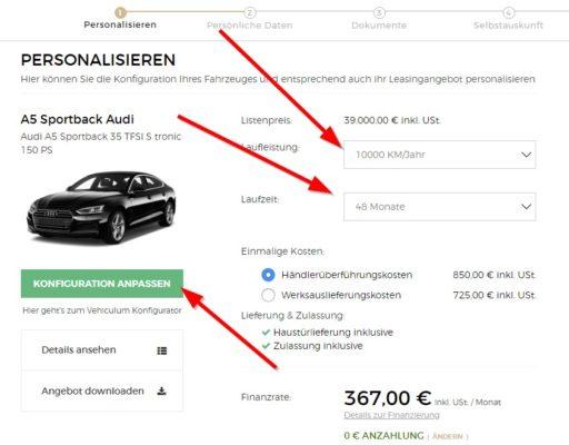 vehiculum privatleasing konfiguration anpassen