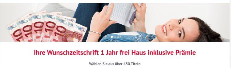 5 10€ Scheine und Frau mit Zeitschrift
