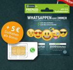 WhatsApp SIM Prepaid jetzt mit 3.000 MB LTE/SMS/Min. bei 15€ Startguthaben für 10€