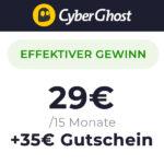 *GRATIS + Gewinn* 15 Monate Cyberghost VPN für 29€ + 35€ Bonus [BLACK WEEK]
