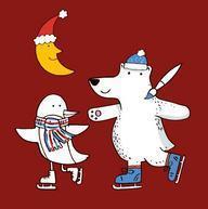 Eisbär und Vogel