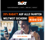 Sixt Ride: 20% Gutschein