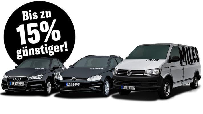 Miles Carsharing Autos: Audi A3, VW Transporter & VW Golf günstiger danke Gutschein