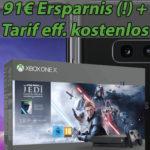 Telekom-Netz: Galaxy S10e + Xbox One X Star Wars + 6GB LTE für mtl. 26,99€ => 91€ Ersparnis + Tarif eff. kostenlos (viele weitere Bundles im Deal!)