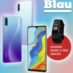 Huawei Nova 5T + GRATIS Kopfhörer + 5GB LTE Blau Allnet-Flat für mtl. 15,99€ (oder P30 lite New Edition + GRATIS Huawei Band 4 Pro für 17,99€)