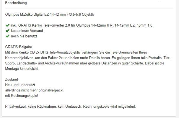 eBay_Kleinanzeigen_Beschreibung Tipp