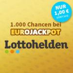 23 Mio € Eurojackpot: 3 Tipps für 2€ (statt 6€) // 1.000 Chancen für 1€ (statt 10€) - Lottohelden-Neukunden