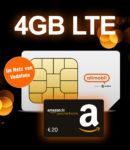 *TOP!* Otelo 4GB LTE Allnet-Flat für 7,99€/Monat + GRATIS: 20€ Amazon.de-Gutschein / Powerbank + 50€ Rufnummer-Bonus (Vodafone-Netz)