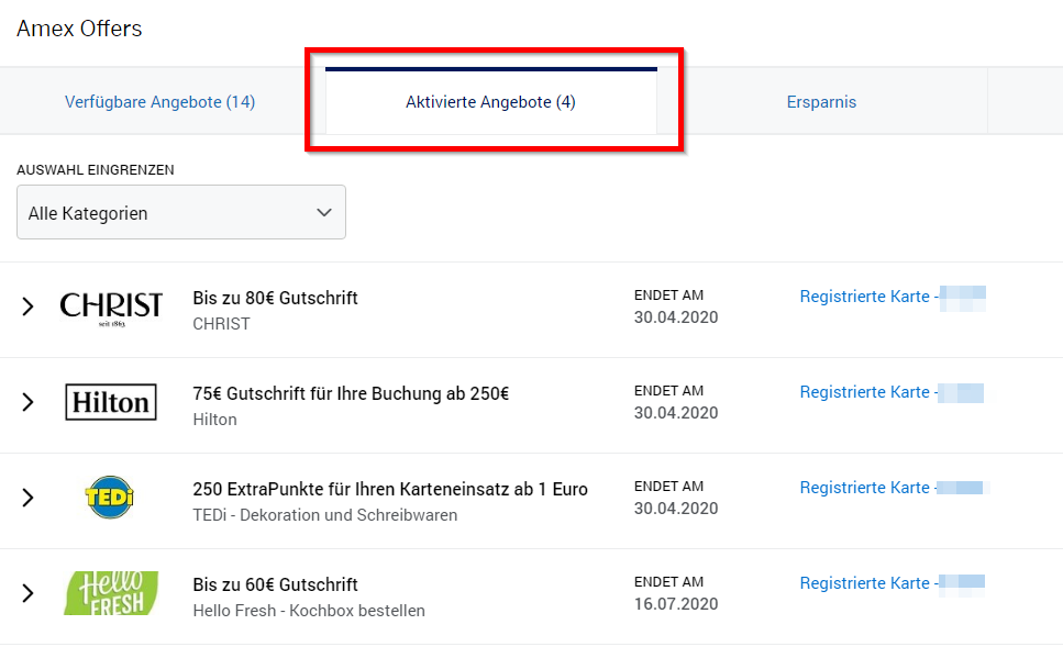 Amex Offers aktuelle Angebote